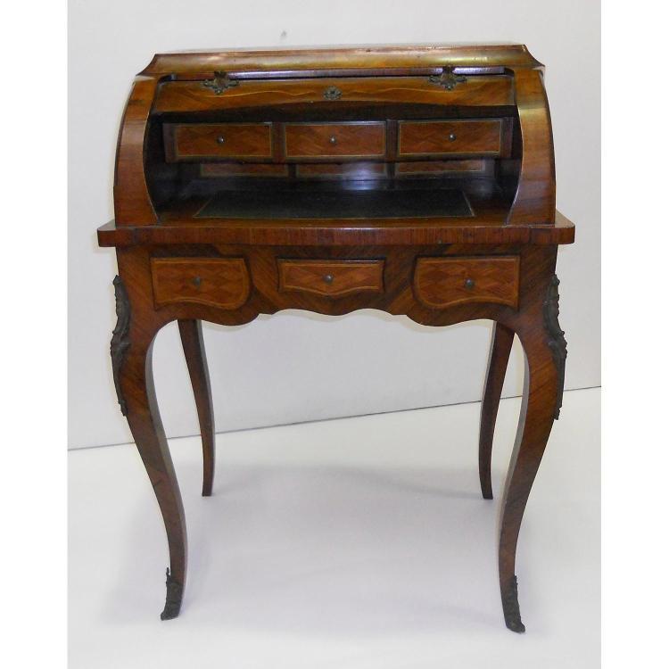 bureau cylindre de forme galb e en placage de bois de rose. Black Bedroom Furniture Sets. Home Design Ideas