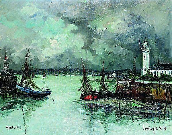 ROBERT L. P. LAVOINE (1916-1999) LE PORT, HONFLEUR, 1948 Huile sur toile signée et datée 48 en bas à droite, située Honfleur en bas...