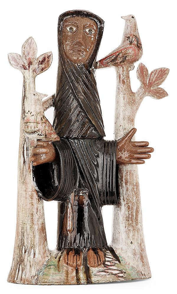 JEAN DERVAL (1925-2010) A significant earthenware sculpture representing Saint Francis d'Assisi. Enamelled signature. Height. 28 3/8 in