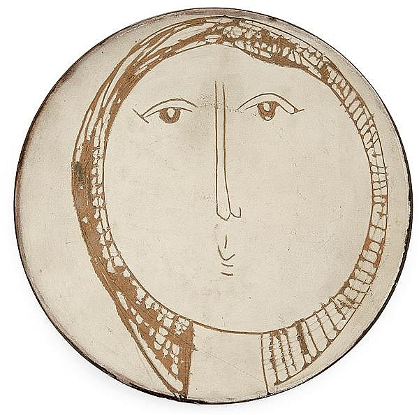 Jacques INNOCENTI (1926-1958) A small red clay cup incised with a female face. Carved signature, dated. Diam. 7 1/4 in.