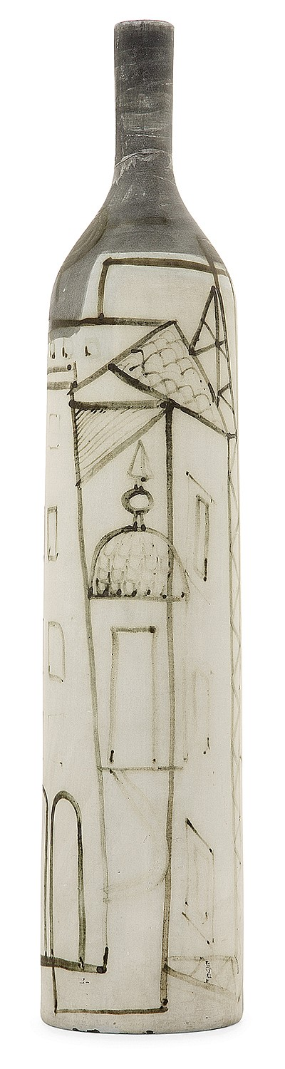 Jacques INNOCENTI (1926-1958) A tall black and blue slip on red paste bottle with stylized house decoration. Signed. (A restoration on