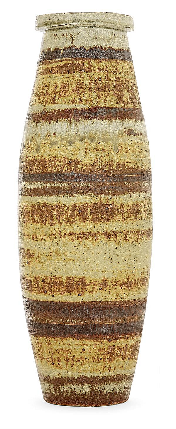 DAN ARBEID (né en 1928) An ovoide enamelled stoneware vase. Enamelled signature. Height. 18 1/8 in.
