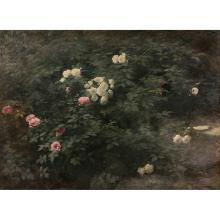 LOTHAR VON SEEBACH (FESSENBACH 1853 - STRASBOURG 1930) COIN DE JARDIN AVEC ROSIERS ROSES ET BLANCS