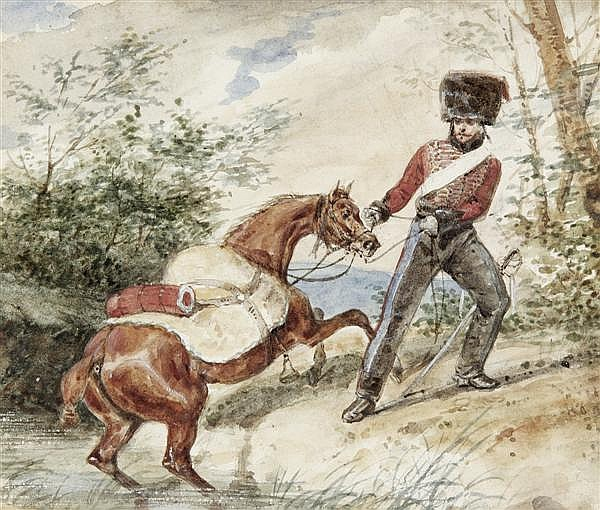 Attribué à Hippolyte BELLANGE (Paris 1800 - 1866) Hussard tirant son cheval hors de l'eau Aquarelle gouachée sur traits de crayon no...