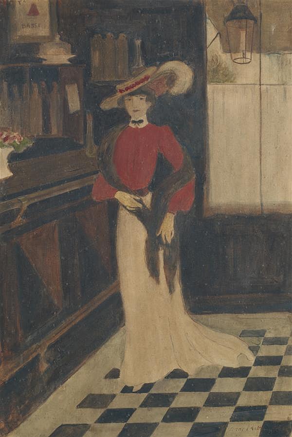 Georges BOTTINI (Paris 1874 - 1907) Femme debout devant un comptoir Aquarelle 39,5 x 26,5 cm Signé et daté en bas à droite de «1901»