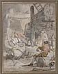 Attribué à Charles ESCHARD (Caen 1748 - 1810) Intérieur de taverne Aquarelle sur traits de crayon noir 28 x 21,5 cm Annoté: «Eschar..., Charles Echard, Click for value