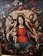 Ecole espagnole du XVIIIème siècle Vierge dans une couronne de fleurs 73,5 x 60 cm