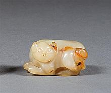 A jade figure, China, 20th century. L. 1 3/4 in.