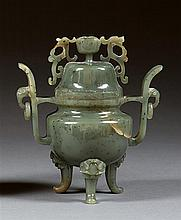 A jade censer and cover, China, 20th century. H. 6 11/16 in.