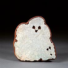 A large jadeite plaque, China, 20th century. / L. 7 11/16 in.