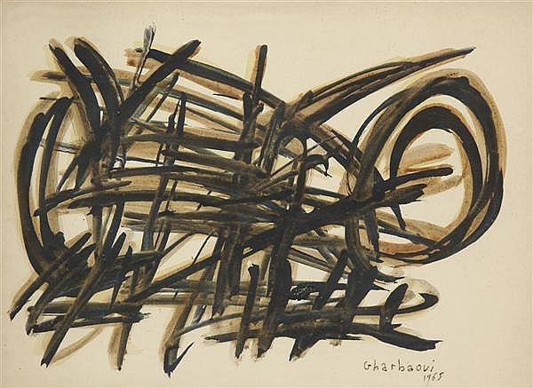 Jilali GHARBAOUI (1930-1971) Composition Gouache et aquarelle Signée et datée en bas à droite 23 x 33 cm