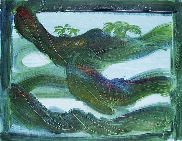 Jean Messagier (1920 - 1999) Paysage que j'aurai voulu peindre en 1948 Technique mixte sur toile Signée en bas à droite 72 x 92 cm