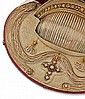 Parure composée d'un collier, d'une paire de bracelets, d'un grand peigne, d'une paire de pendants d'oreilles et d'une croix sertie ...