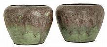 Auguste DELAHERCHE (1857-1940) A set of two potbellied enamelled stoneware vases