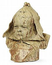 SAINT-AMAND EN PUISAYE - Enamelled stoneware sculpture shaping a child bust