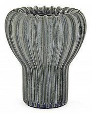 ARNE BANG (1901-1983) An enamelles stoneware ribbed tulip vase with glaze- circa 1930s-40s