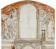 Attribué à Thomas BLANCHET (Paris 1614-Lyon 1689) Projet de décor pour un miroir et une cheminée Plume et encre brune, sur traits de...