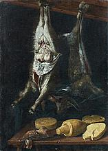 Attribué à Jacopo CHIMENTI dit Jacopo da EMPOLI (1551-1640) Nature morte au chevreau, au lièvre et aux fromages Toile 118 x 83,5 cm ...