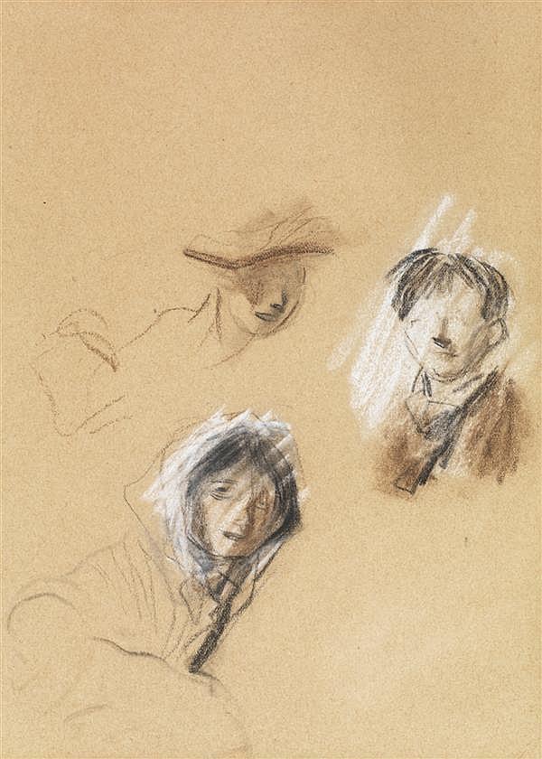 JEAN LOUIS FORAIN (1852-1931) ETUDE DE VISAGES Sanguine, fusain et craie blanche sur papier 21,5 X 15,2 CM