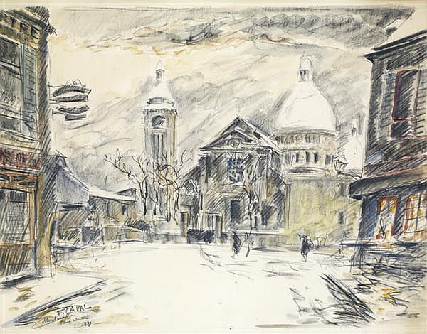 FERNAND LAVAL (1886-1966) SAINT PIERRE DE MONTMARTRE, 1930 Aquarelle et fusain sur papier Signée et datée en bas à gauche 38,5 X 49 ...