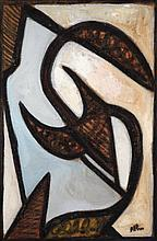 Jean-Michel Atlan (1913-1960) Sans titre, circa 1958 Oil on burlap Signed lower right 39 3/8 x 25 5/8 in