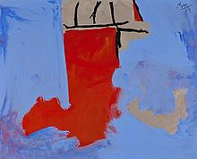 ƒRobert Motherwell (1915-1991) The Summer Studio, 1977 Acrylic on canvas Signed with initials and dated 77 upper right  44 x 54 in