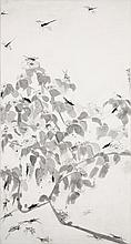 Walasse Ting (1929-2010) Sans titre, circa 1970 Ink wash on paper laid on canvas Signed middle right 69 5/8 x 37 in