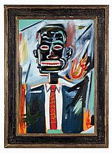 ƒJean-Michel Basquiat (1960-1988) SANS TITRE (Self portrait with tie), 1985 Oil on canvas Signed and dated on the reverse 32 7/8 x 2...