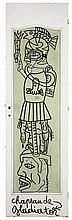 Robert Combas (né en 1957) Chapeau de gladiator, 2000 Marker on wooden door Titled at the bottom Signed and dated on the reverse  83...
