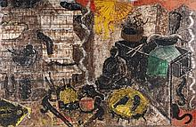 Miquel Barceló (né en 1957) Bodegón Chinois avec Buda, 1985 Mixed media on canvas Signed, titled and dated on the reverse 76 3/4 x 1...