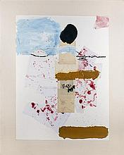 ƒJulian Schnabel (Né en 1951) Some Japanese Flowers II, 1989 Oil, fabric and paper collage on paper mounted on canvas Signed and dat...