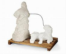 ƒSaint Clair Cemin (Né en 1951) Lady and lion, 1993 Alabaster, limestone, wood and silver wire 25 1/2 x 26 3/4 x 15 in