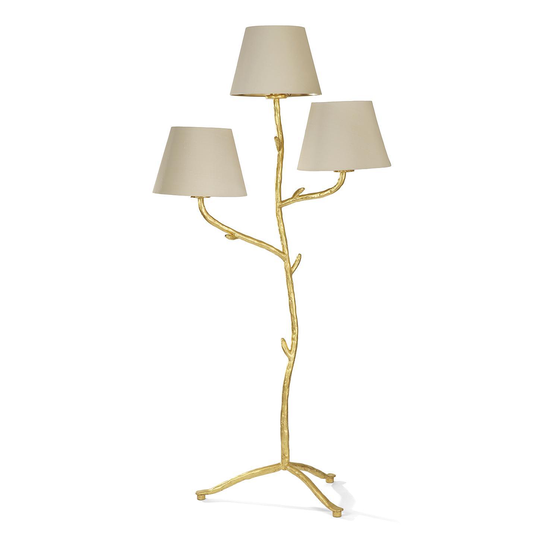 """ÉLIZABETH GAROUSTE (NÉE EN 1949) Lampadaire """"Liane"""" à trois lumières, 2002, structure végétale en fer forgé, entièrement doré à la..."""