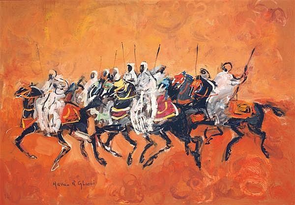 HASSAN EL GLAOUI (NÉ EN 1924) GRANDE FANTASIA À NEUF CAVALIERS Huile sur isorel signée en bas à gauche. 73 x 105cm