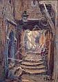 PRIMITIF BONO (1890-1955) RUE BEN ALI DANS LA CASBAH D'ALGER Huile sur panneau signée en bas à droite, titrée au dos, Primitif Bono, Click for value