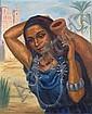 SOLANGE MONVOISIN (1911-1985) JEUNE FEMME À LA CRUCHE Huile sur toile tendue sur panneau signée en bas à gauche. 54 x 45cm