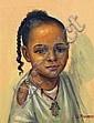 SOLANGE MONVOISIN (1911-1985) ENFANT À LA MAIN DE FATMA Huile sur toile tendue sur panneau signée en bas à gauche. 36 x 28cm