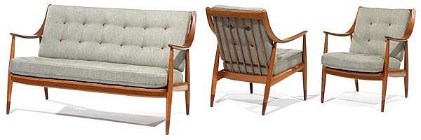 Peter HVIDT (1916-1986) & Orla MOLGAARD NIELSEN (1907-1993) - FRANCE & DAVERKOSEN Mobilier de salon composé d'un canapé deux places ...