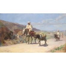 ABRAHAM HERMANJAT (1862-1932) RETOUR DE MARCHÉ BACK FROM THE MARKET Huile sur toile