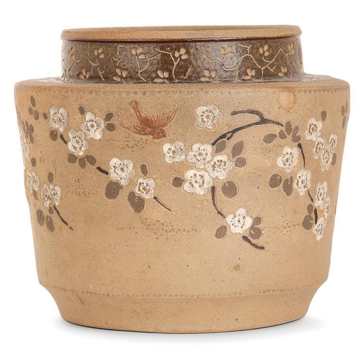 ERNEST CHAPLET (1835-1909) & ÉDOUARD DAMMOUSE (1850-1903) - HAVILAND ET CIE Vase cylindrique en grès brun, à épaulement marqué, dé...
