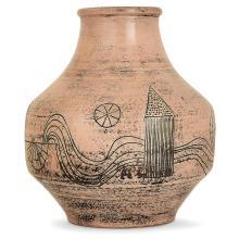 JACQUES BLIN (1920-1995) Vase balustre en faïence, 1978, décor incisé d'une frise de village et rivière, émaux roses essuyés, pati...