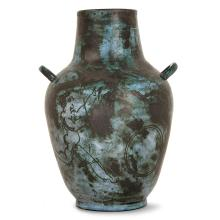 JACQUES BLIN (1920-1995) Vase ovoïde en faïence, prises annulaires sur l'épaulement, décor incisé d'une frise de personnages et or...