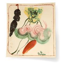 GILBERT PORTANIER (NÉ EN 1926) Panneau rectangulaire cintré en faïence, 1986, décor émaillé polychrome d'une danseuse et d'un spec...