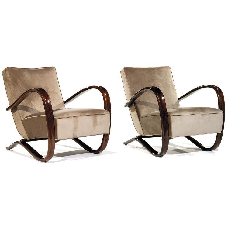 JINDRICH HALABALA (1903-1978) & THONET (ÉDITEUR)Paire de fauteuils