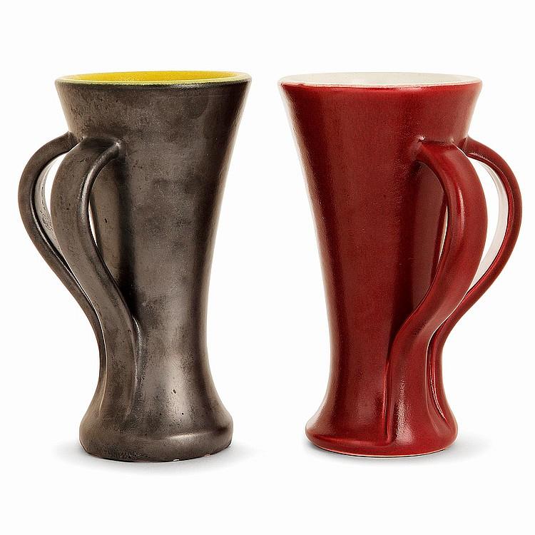 *POL CHAMBOST (1906-1983) Suite de deux vases en faïence, modèle deux anses