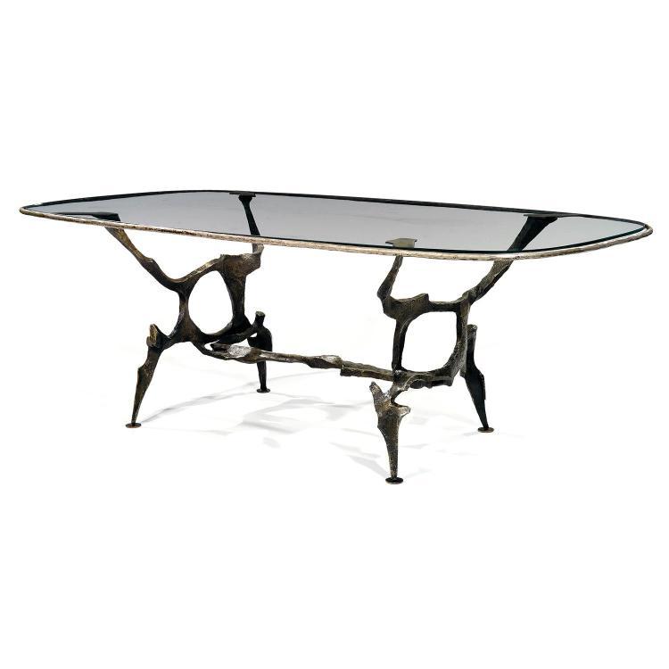SIDO (1934-1986) & FRANÇOIS (1931-2016) THÉVENINGrande table sculpture, 1977, piétement zoomorphe en fer chaudronné, découpé et faço...