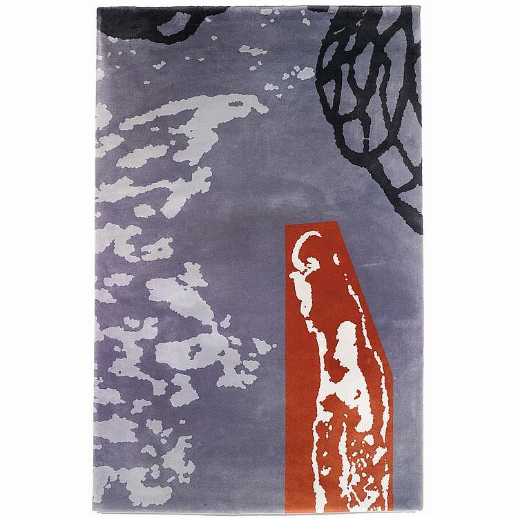 JULIÃO SARMENTO (NÉ EN 1948) & ARTERIOR (ÉDITEUR) Tapis mécanique haute laine à décor de grands motifs abstraits, teintes rouille,...