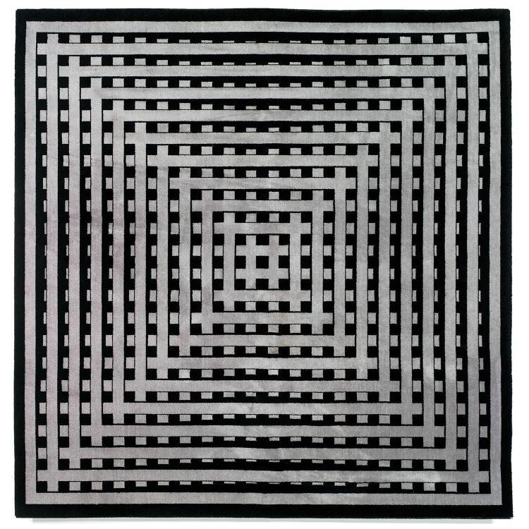 MARCELLO MORANDINI (NÉ EN 1940) & MELCHNAU (ÉDITEUR) Tapis mécanique haute laine à décor cinétique noir et gris. Étiquette d'édite...