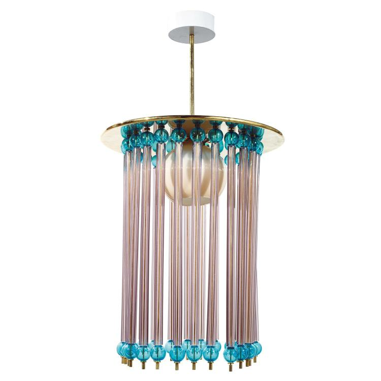 ETTORE SOTTSASS (1917-2007) & VENINI (ÉDITEUR) Grande suspension lanterne