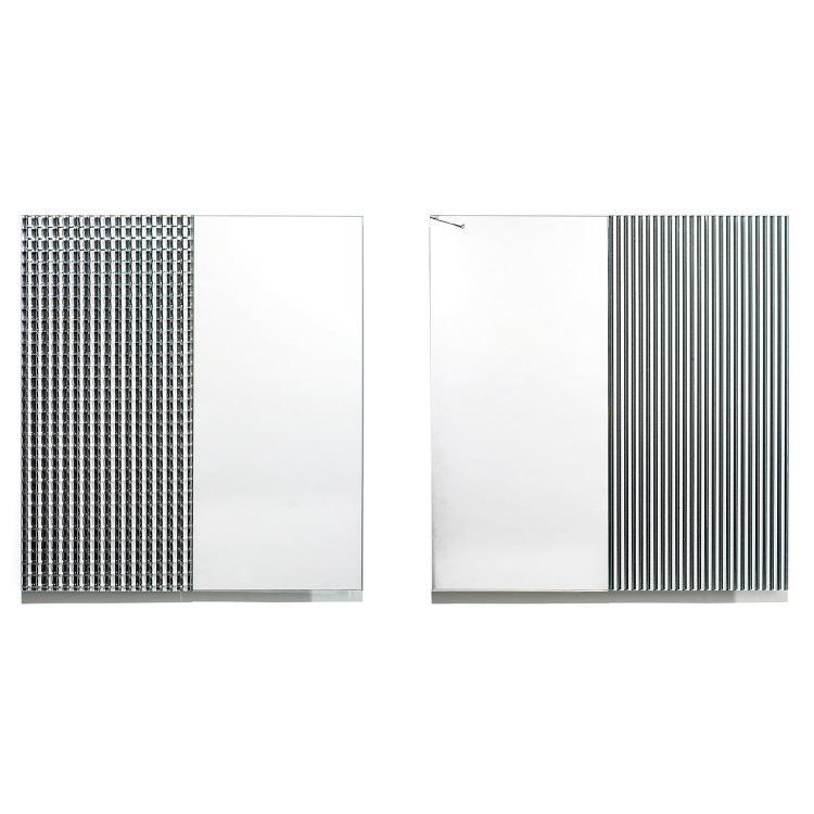 JACQUES TOUSSAINT (NÉ EN 1947)Paire de miroirs carrés, structure d''accrochage formant carré en aluminium sur lequel sont fixées deux...